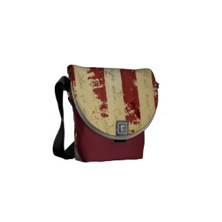 US Grunge Flag And Declaration Text Messenger Bag