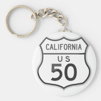 US Highway 50 California Road Trip Basic Round Button Keychain