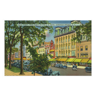 US Hotel Porch View of Main Street Poster