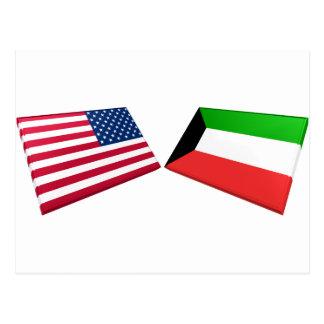 US & Kuwait Flags Postcard