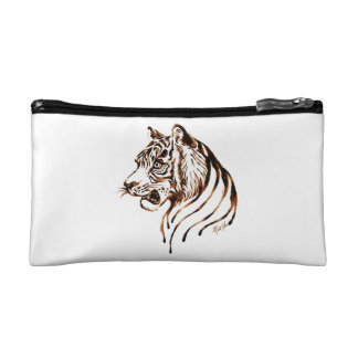 US Made Chocolate Painted Tiger Satin Makeup Bag