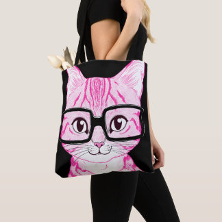 US Made Pink Nerdy Cat Art 2-Color 2-Side Tote Bag