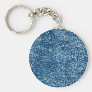 US Map Blueprint Basic Round Button Keychain