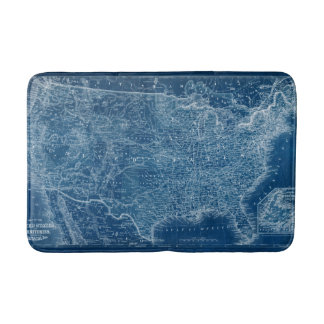 US Map Blueprint Bathroom Mat