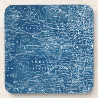 US Map Blueprint Beverage Coasters