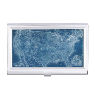 US Map Blueprint Business Card Holder