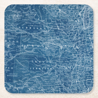 US Map Blueprint Square Paper Coaster