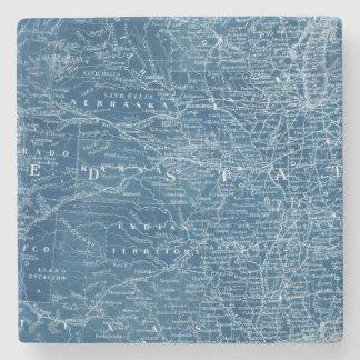 US Map Blueprint Stone Coaster