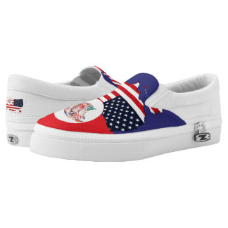 US Map & Eagle Slip-On Sneakers