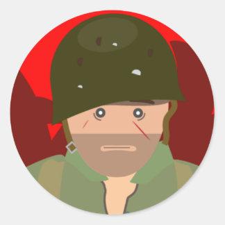 US Marine 1000 yard stare (Simple History) Round Sticker