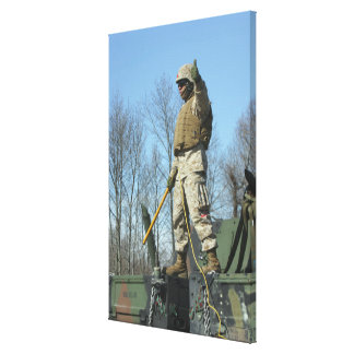 US Marine Corps Sergeant gives the thumbs up Stretched Canvas Print