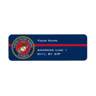 US Marine Corps - Veteran Blue Return Address Label