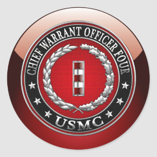 US Marines: Chief Warrant Four (USMC CWO-4) [3D] Round Sticker