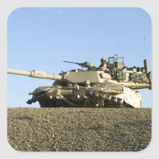 US Marines provide security in an M1A1 Abrams t Square Sticker