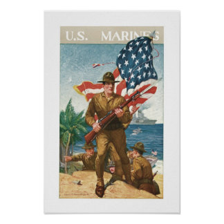 US Marines - w/Flag Poster