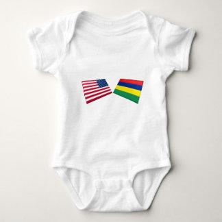 US & Mauritius Flags Baby Bodysuit