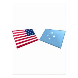 US & Micronesia Flags Postcard