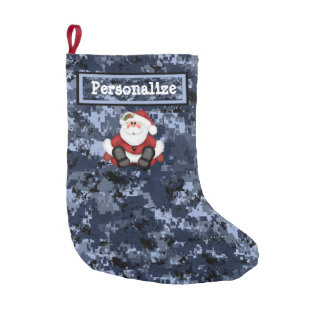 US Military Blue Camo Christmas Stocking w/ Santa
