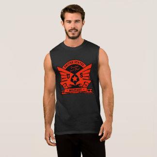 US MILITARY_red & black design Sleeveless Shirt
