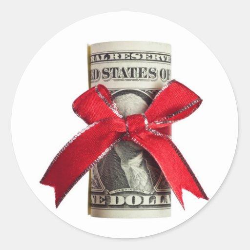 US money gift Round Stickers