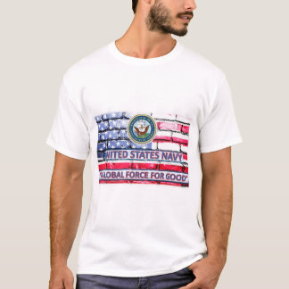 US Navy A Global Force For Good Motto Flag Shirt