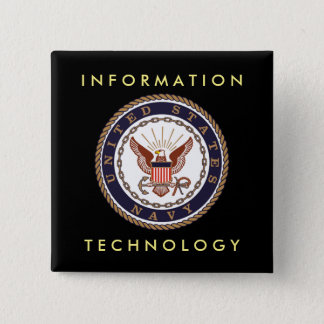 US NAVY Information Technology 2 Inch Square Button