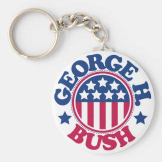 US President George H Bush Basic Round Button Keychain