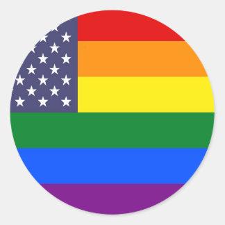 US Pride Flag Classic Round Sticker