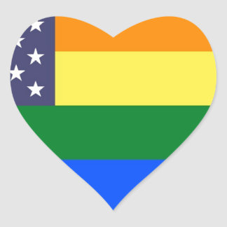 US Pride Flag Heart Sticker