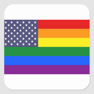 US Pride Flag Square Sticker
