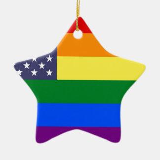 US Rainbow Pride Flag Ceramic Star Ornament