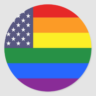 US Rainbow Pride Flag Classic Round Sticker