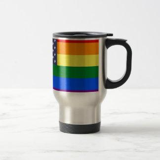 US Rainbow Pride Flag Travel Mug