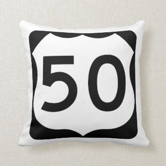 US Route 50 Sign Throw Pillow