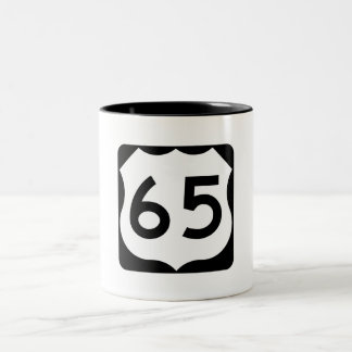 US Route 65 Sign Two-Tone Coffee Mug