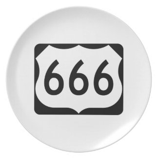 US Route 666 Sign Party Plates