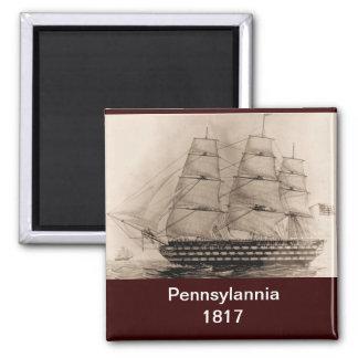 US ship Pennsylannia 1817 Square Magnet
