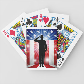 US Soldier Salute Patriotic Background Bicycle Playing Cards