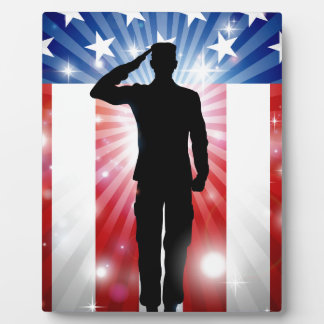 US Soldier Salute Patriotic Background Plaque