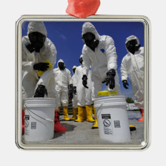 US Soldiers from the 457th Chemical Battalion Silver-Colored Square Ornament