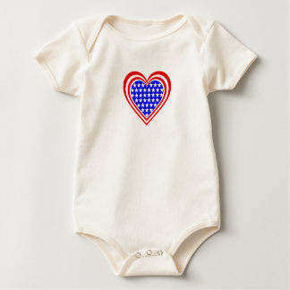 US/Stars and Stripes Flag-Inspired Hearts Baby Bodysuit
