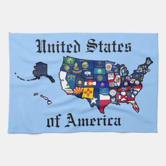 US State Flags Map Kitchen Towel