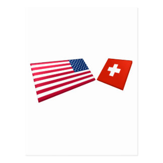 US Switzerland Flags Post Card