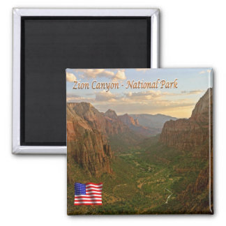 US U.S.A. National Park Zion Canyon - Panorama Magnet