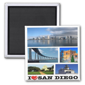 US - United States of America - San Diego - I Love Square Magnet