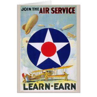 US Vintage Join The Air Service Learn-Earn Canvas Card