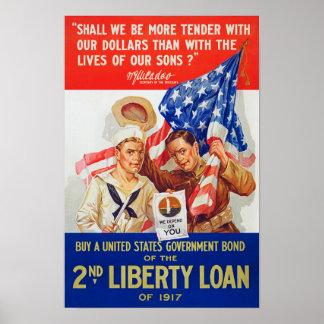 US War Bonds 2nd Liberty Loan 1917 WWI Propaganda Poster