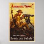 US War Bonds Ammunition WWI Propaganda Poster