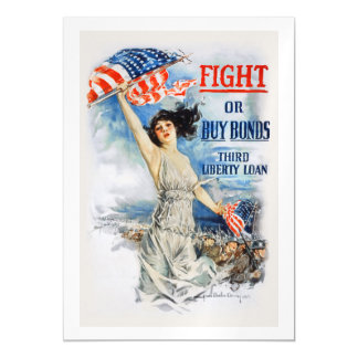 US War Bonds Fight Buy Third Liberty Loan WWI Magnetic Invitations