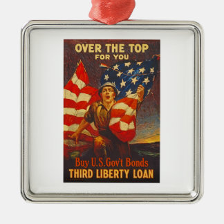 US War Bonds Third Liberty Loan WWI Propaganda Metal Ornament